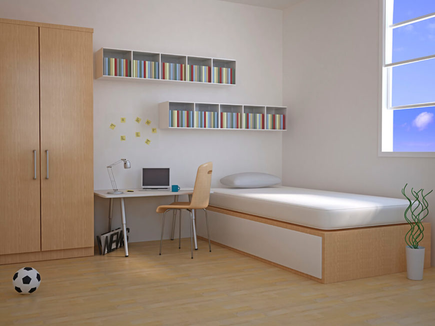 This Minimalist Bedroom Features A Bed, A Desk, A Closet, And Small Shelving