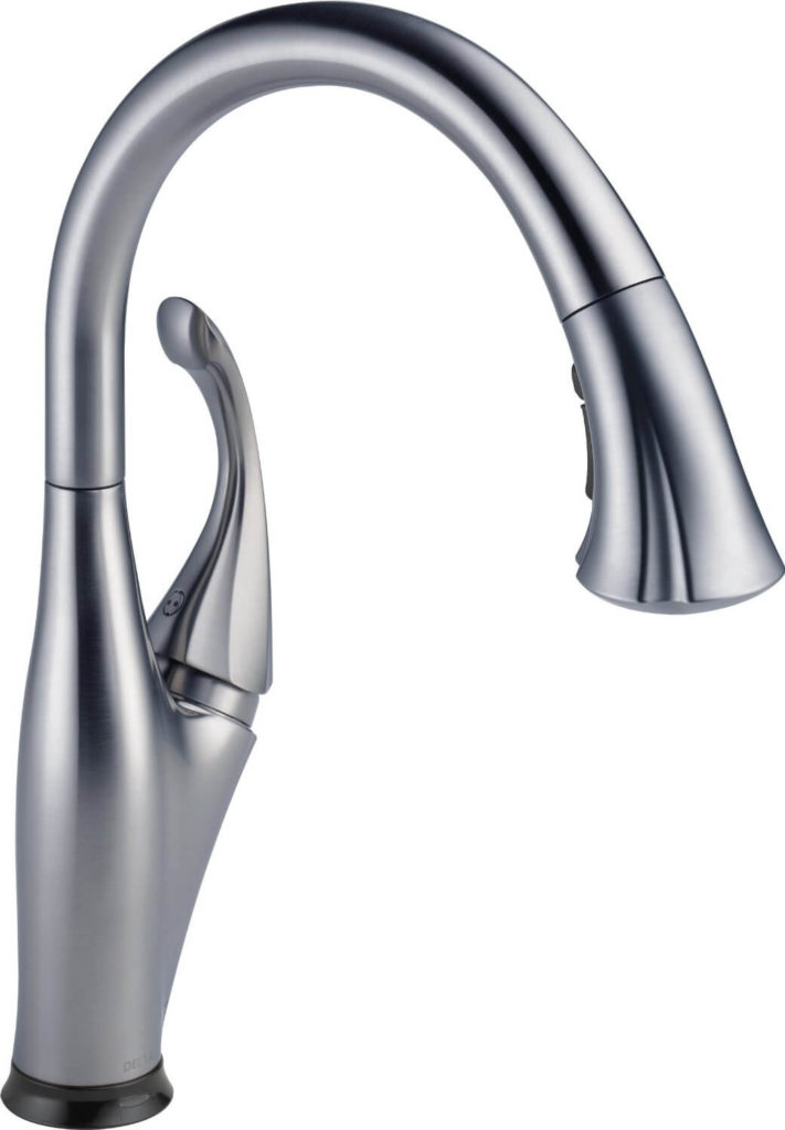 "Now we're looking at kitchen faucets, and while this one might fudge the ""touchless"" definition a bit, we feel it belongs. You can use it as a normal faucet, or give it a light tap of the hand on the top of the curve to get instant water flow."