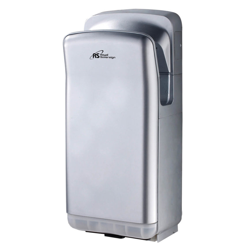 Our first touchless hand dryer works similarly to the latest Dyson models you've probably seen at airports or high end hotels, with hands inserted at the top and blasted by air from both sides. It's seamless and sleek.