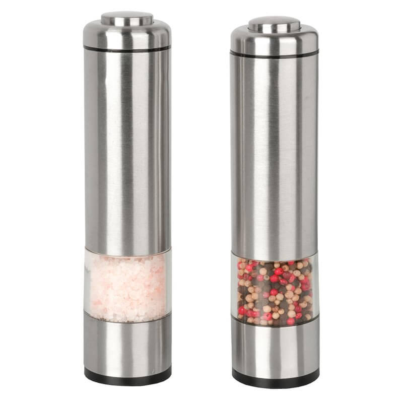 Design for grinders doesn't get much more slick than this. A pair of perfectly cylindrical steel tubes feature small windows and bespoke push button design that makes them appear more like a modern industrial tool than a simple kitchen accessory.