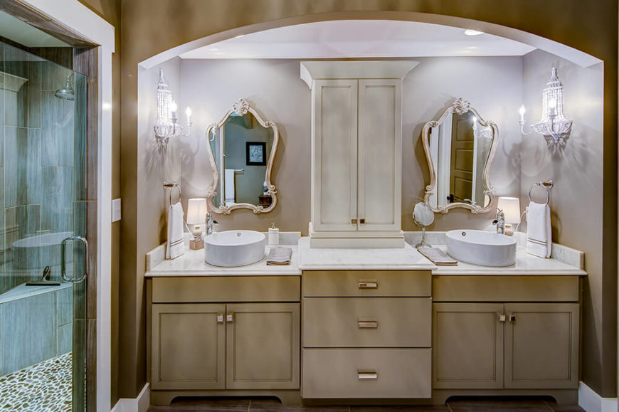 When it comes to style, though, the master bathroom is a cut above the rest. Entering to face the sink area, a convenient walk in shower sits off to the left.