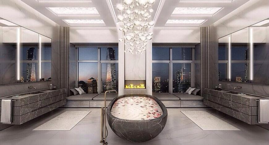 Modern Luxury Bathrooms: 41 Bespoke Bathrooms With Glittering Chandeliers