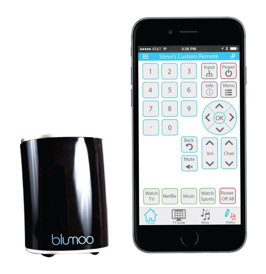 The Blumoo is a small but powerful device that turns your mobile devices into high-end remote controls, forming a centralized link to let you directly control your electronic equipment, sorting and playing entertainment via a number of streams or sources. It's accompanied by the Blumoo mobile app for ultimate simplicity; you can place Blumoo in a room, start up the app, and get going immediately.