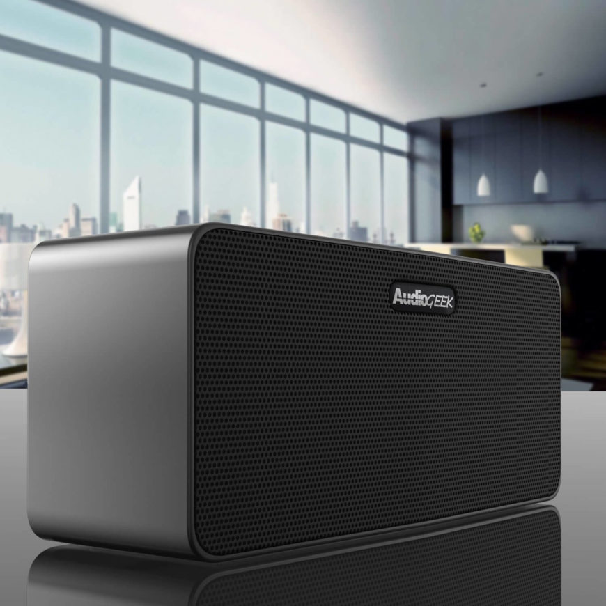 The AudioGeek R400 is a purpose built device focused on producing professional quality sound instead of colored lighting or other gimmicks. Wireless Bluetooth connectivity means that you can play music from any nearby laptop, tablet, or smartphone. Not only that, but like some of our other Bluetooth speakers, it allows you to make clear phone calls via built-in microphone.