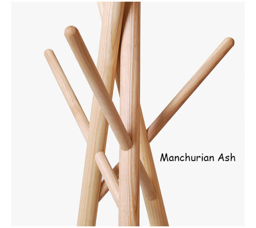 The hanger comes in two different finishes. Manchurian Ash is very hardy and has a beautiful finish with a nice wood grain through it. Manchurian ash is commonly used in furniture making for just these reasons.