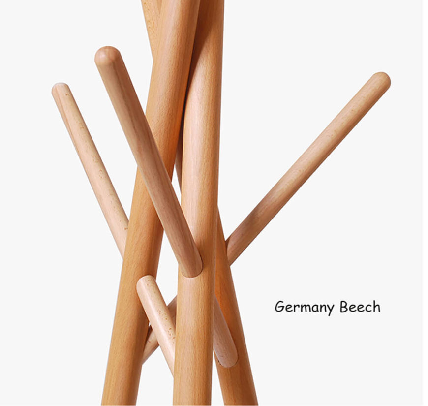 Alternatively, the Germany beech has a gorgeous pinkish-red color to it and a satin smooth finish. It remains a strong, sturdy wood — perfect for a simple design like this.