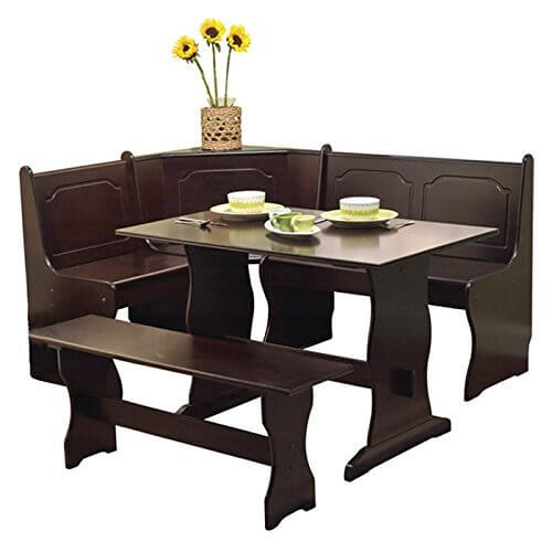 With Its Rich Dark Coffee Wood Finish And Organically Curved Lower Body,  This Corner Dining
