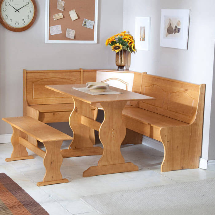 With A Beautiful Pine Finish, This Sturdy Corner Dining Set Is Perfect For  Family Meals