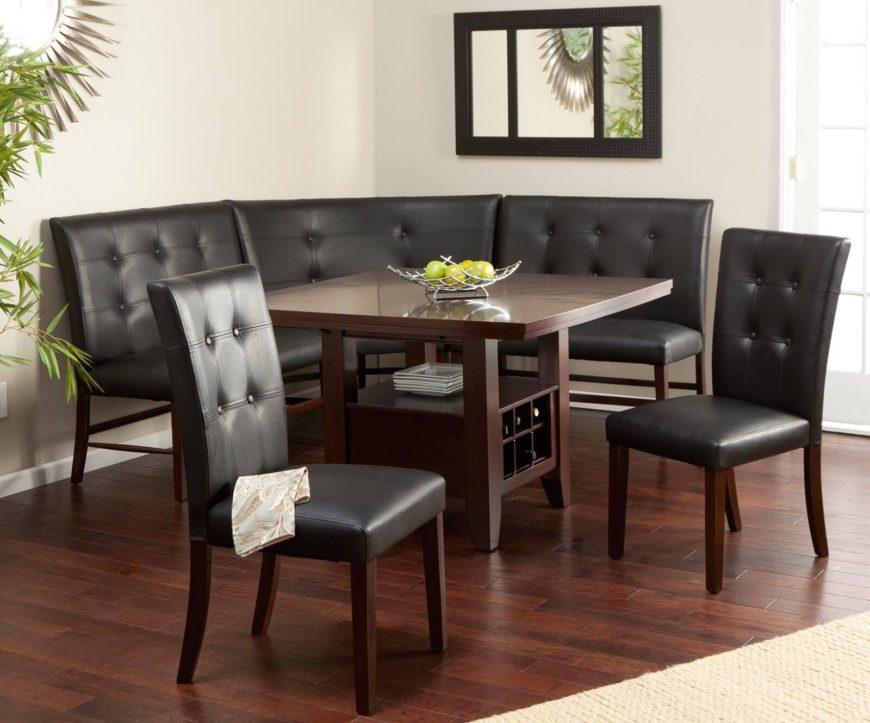 layton espresso 6 piece breakfast nook set - Square Dining Room Table Sets