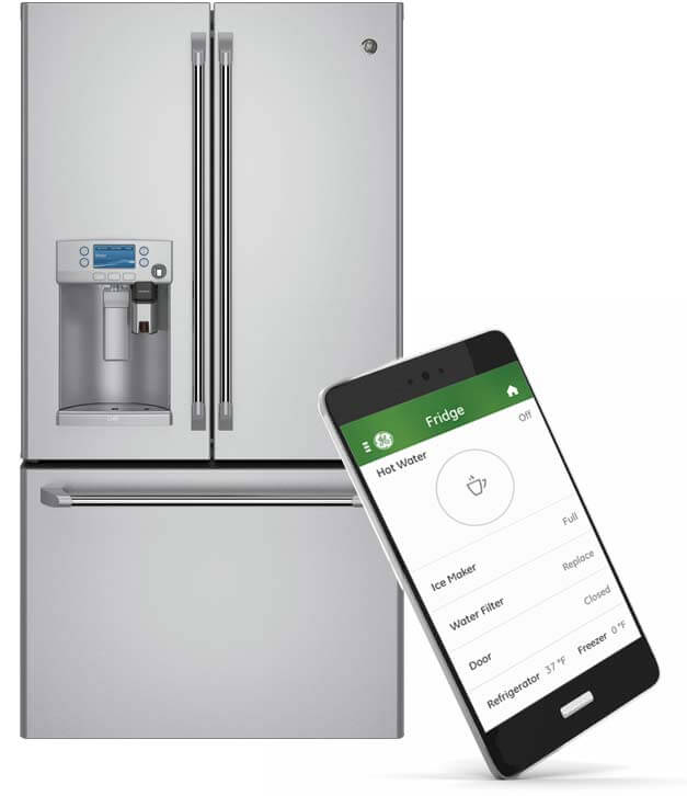 With the new GE Kitchen app, you can use your smartphone to receive alerts when the refrigerator has been left open, schedule hot water, operate the ice maker, adjust temperature, and much more. The fridge has been designed around this expanded operation, allowing for a far greater range of control than ever experienced.