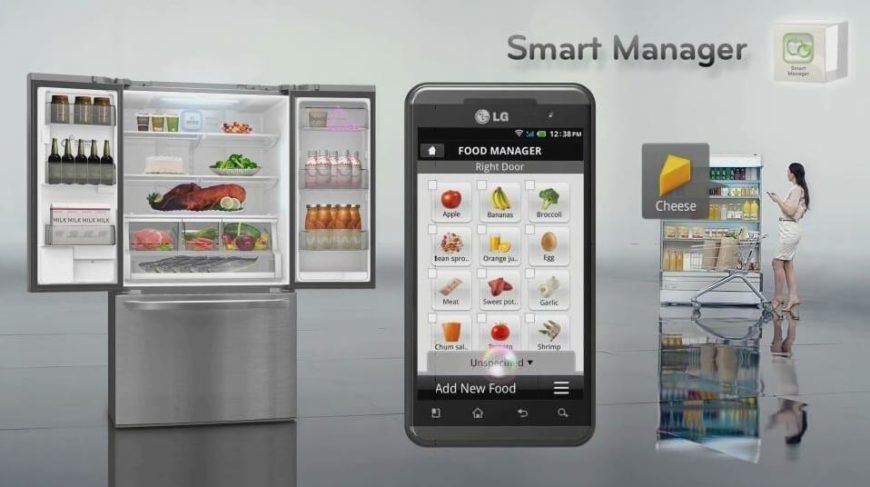 While this fridge features a large capacity, newly popular French style doors and an integrated LCD touch screen for managing temperature, humidity, and more while the doors are closed, it also boasts smart wi-fi connectivity to help you manage your food stores. While you're at the grocery shop, you can even receive reminders about what's needed back home.