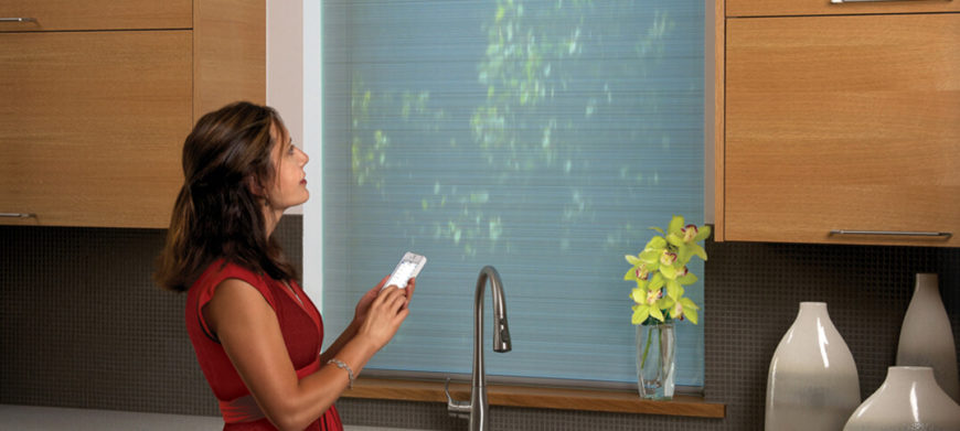"The beauty of these modern shades is that, along with sporting a double layer that perfectly diffuses sunlight, they are utterly easy to operate. Along with physically manipulating them, the shades are designed to work with either a remote control or your smartphone or tablet, with their signature Platinum app. You can set schedules and ""scenes"" to rotate through, changing the way your shades look throughout the day."