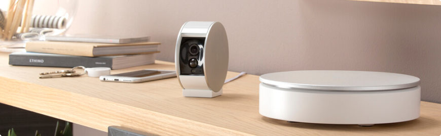 This sleek and stylish home smart security camera features a motorized shutter that's controllable with your smartphone, via an included app. With great HD image quality, night vision, zoom, and a wide viewing angle, it's a very capable camera that just happens to provide security. Even better, it's got 1-hour battery backup plus internal storage in case of an internet or power outage. They offer cloud video recording as well, allowing you to continuously upload your video feed to the internet for storage and viewing.