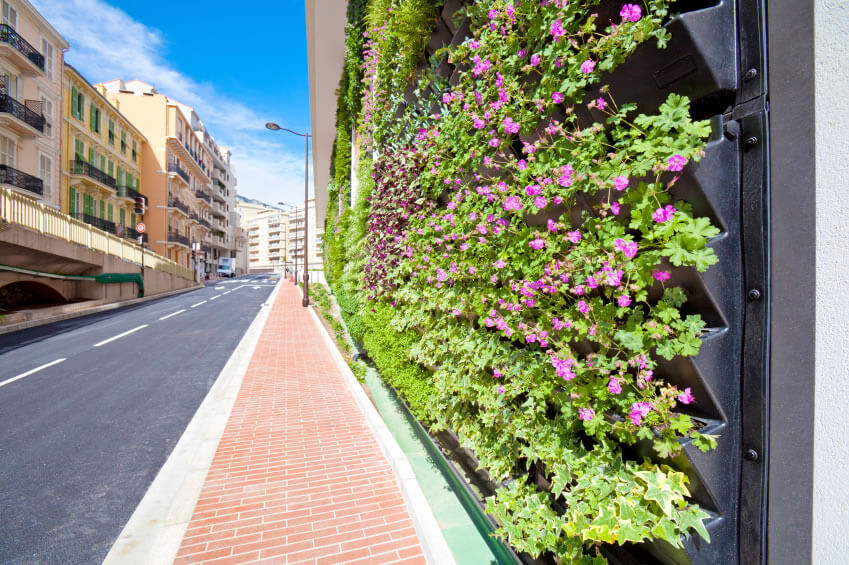 5-vertical-garden Densely populated urban areas are perfect for vertical gardening. Though placement and watering have to be considered before construction starts, this flower garden uses space that was once neglected.