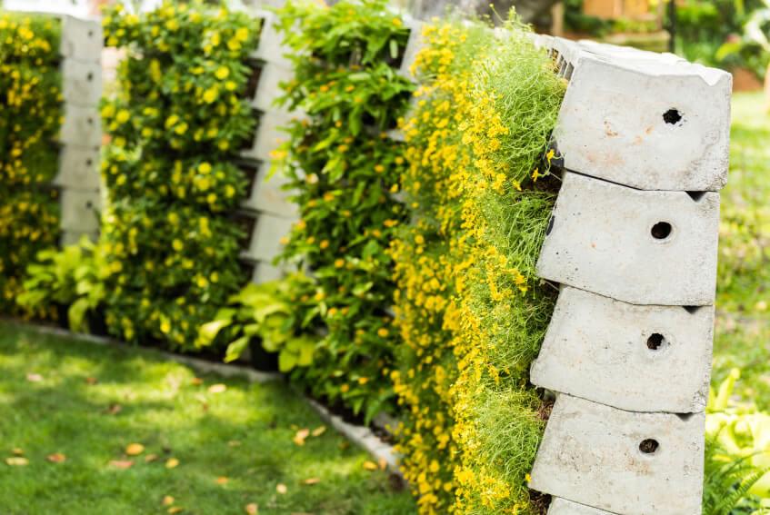 24 Vertical Garden Turning Bricks Sideways Kills Two Birds With One Stone;  The