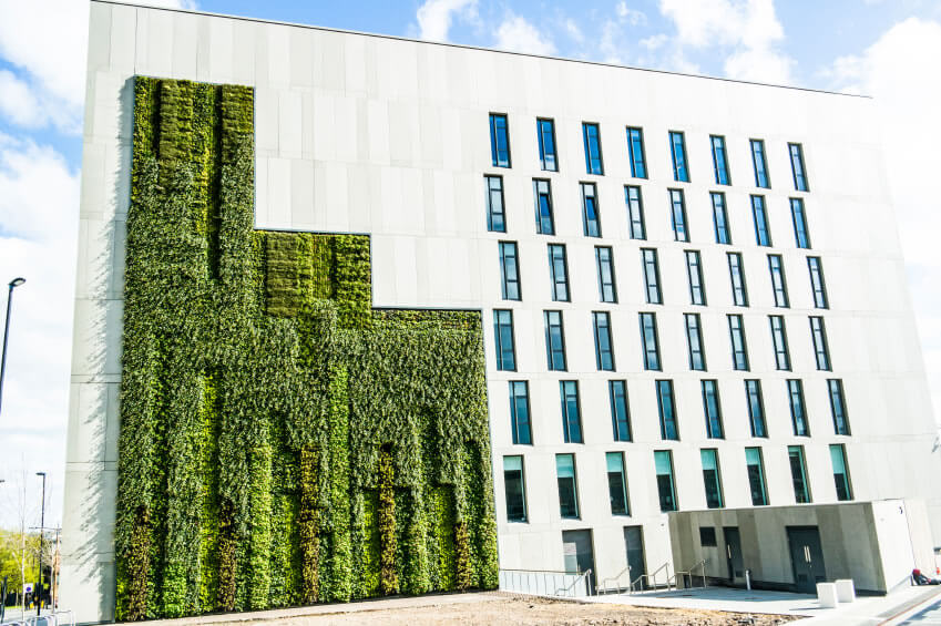 26-vertical-garden Green walls are a cost-effective way to combine natural beauty with artistic purpose. Covering even just small patches of wall with vegetation provides enough cover to help insulate the building from extreme heat or cold.