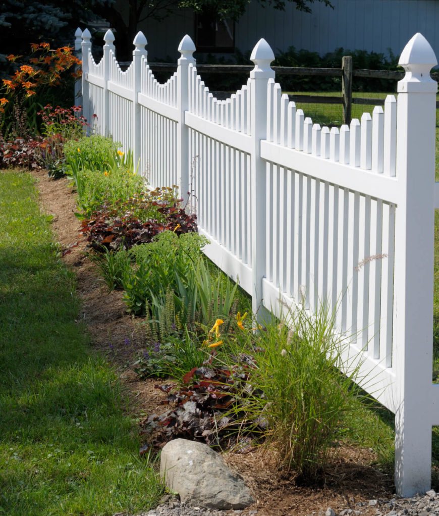 A Lovely Vinyl Picket Fence In White That Meets Split Rail When Fences