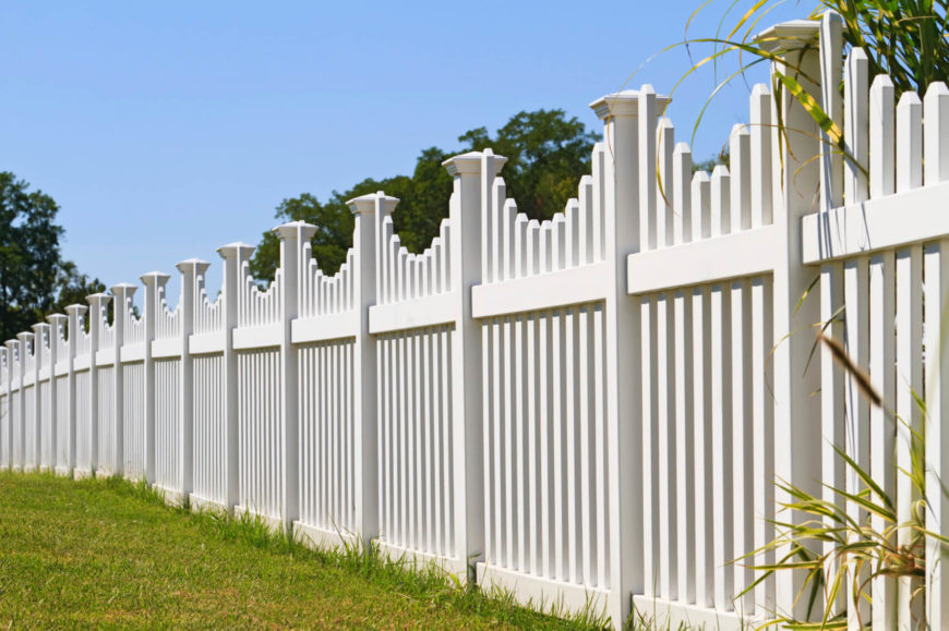 vinyl fence designs. Another Lovely White Vinyl Picket Fence With Square Post Caps And A Small Curvature To Each Designs