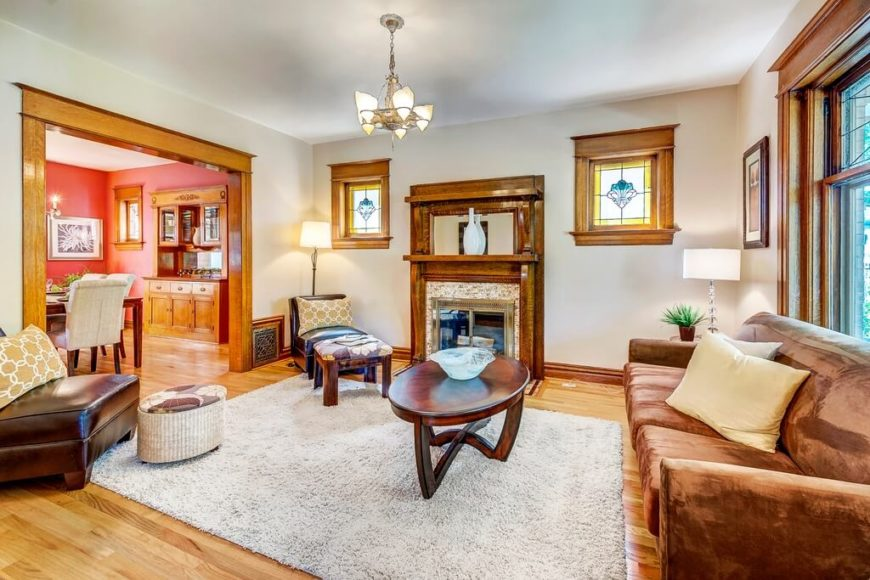 craftsman living room furniture. This room uses the craftsman style and attendant rich wood tones to  highlight a mostly white 28 Great Craftsman Living Room Family Design Ideas
