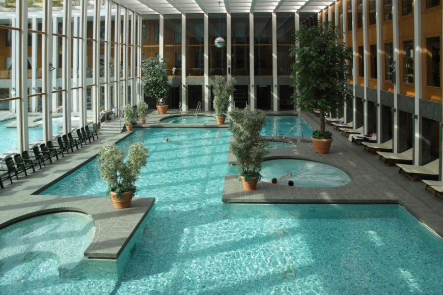 This incredible indoor pool complex has multiple alcoves with hot tubs. The pool is heated along with each hot tub area.