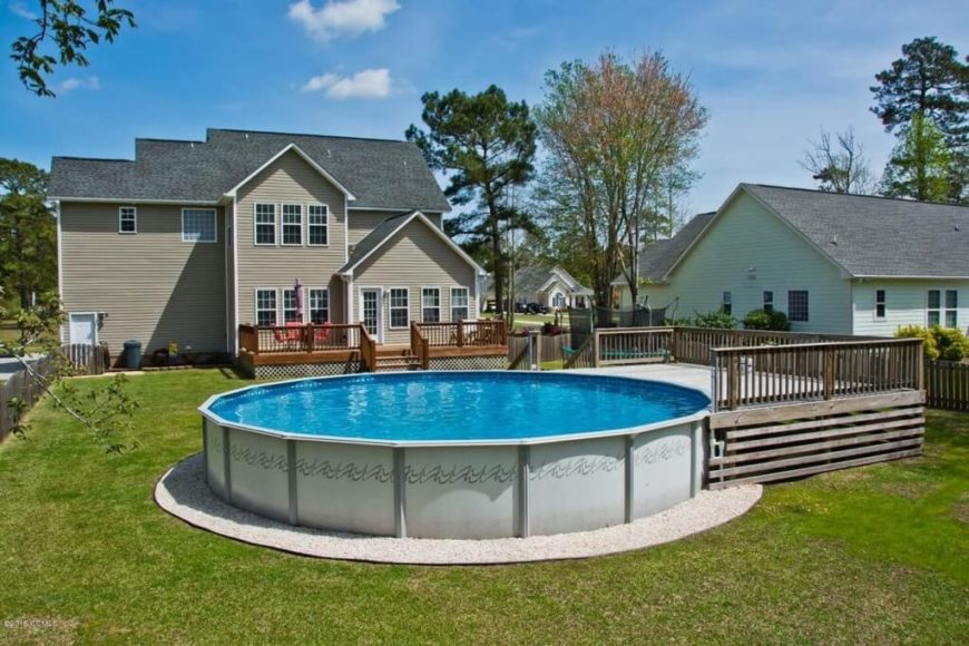 Above ground swimming pools are a much less expensive option than in-ground pools, but require decking to be erected around them or leading up to them. Some may even need to be taken down during the winter months.
