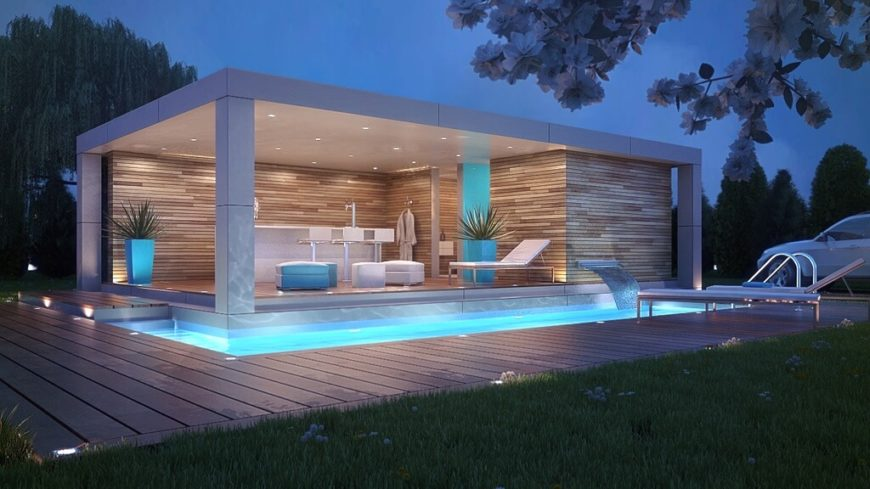 This modern L-shaped pool is narrow, but just perfect for a quick dip. Smaller pools are private, and perfect for small families who don't have gatherings often. This pool is bordered by a pool house with a bar and also has a modern fountain.
