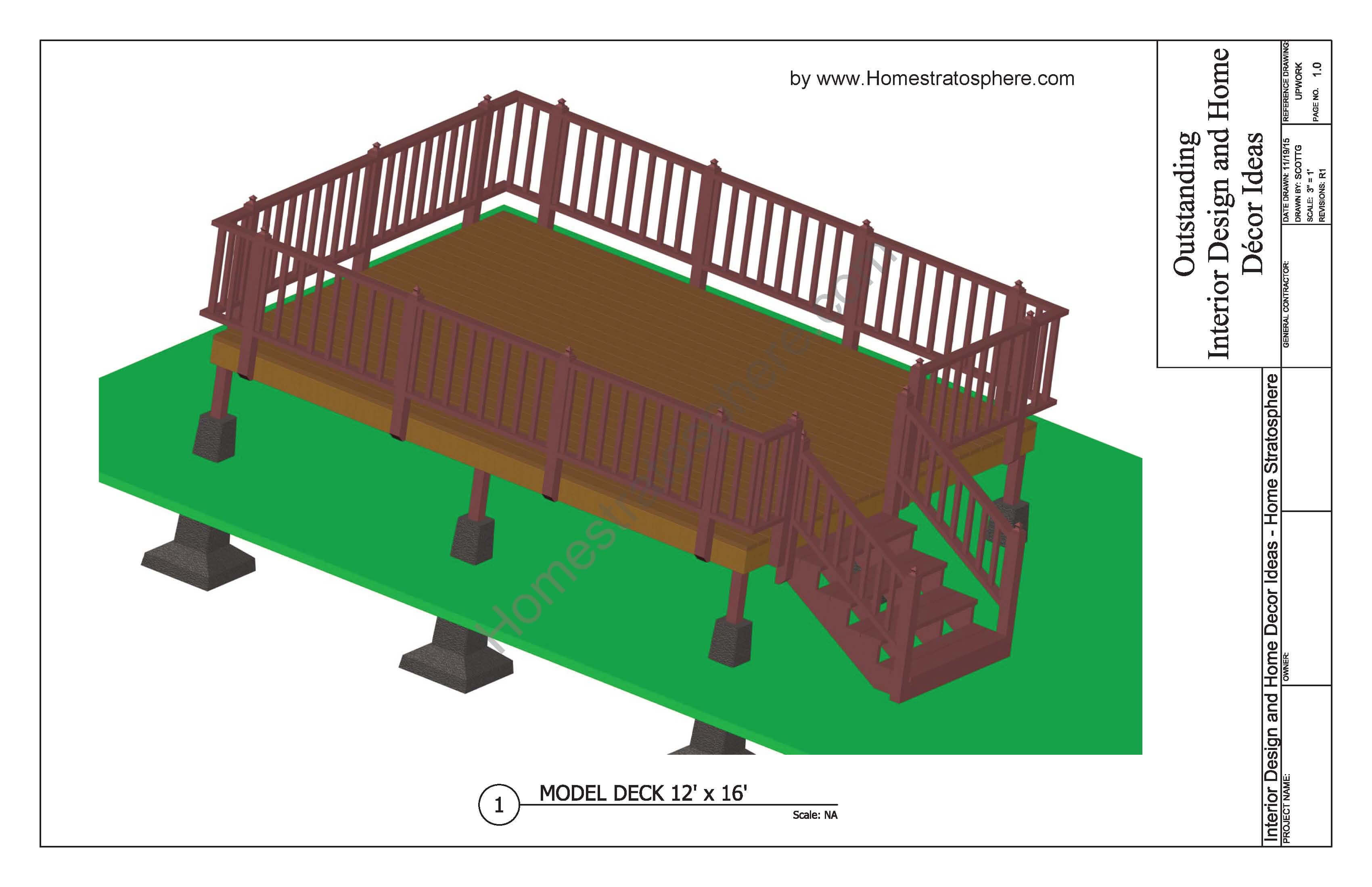 Free deck plans and blueprints online with pdf downloads 12x16 deck plan malvernweather Image collections