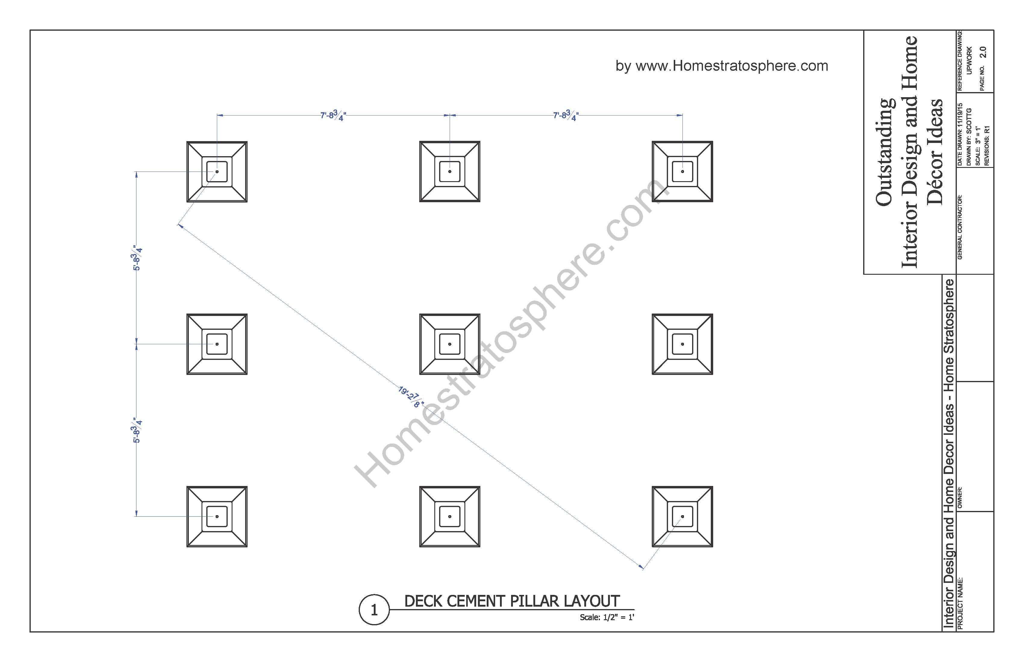 Free 12 39 x 16 39 deck plan blueprint with pdf document for Balcony dimensions