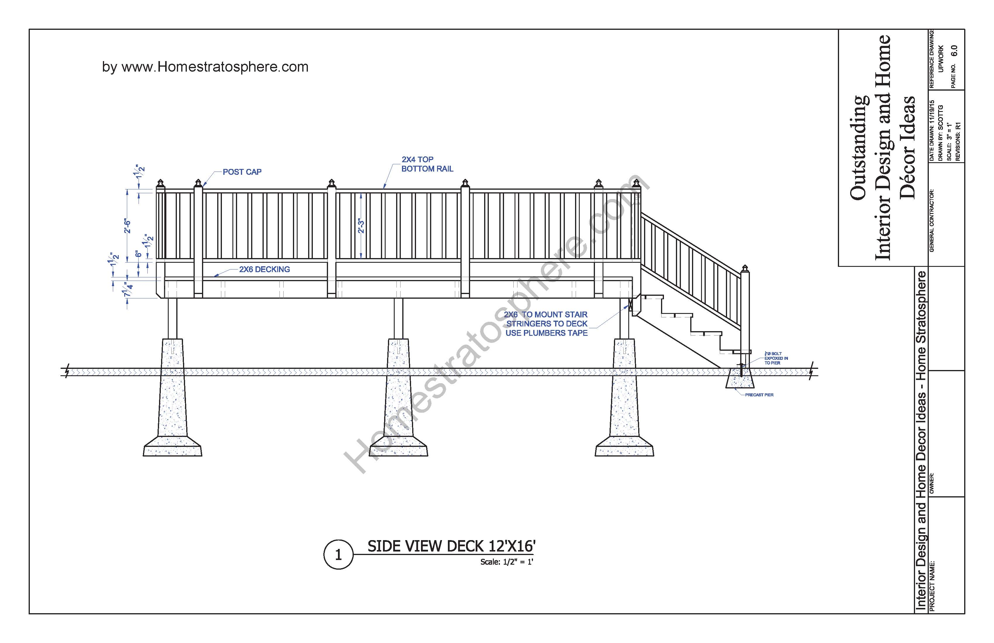 Free 12 39 x 16 39 deck plan blueprint with pdf document for Porch construction drawings