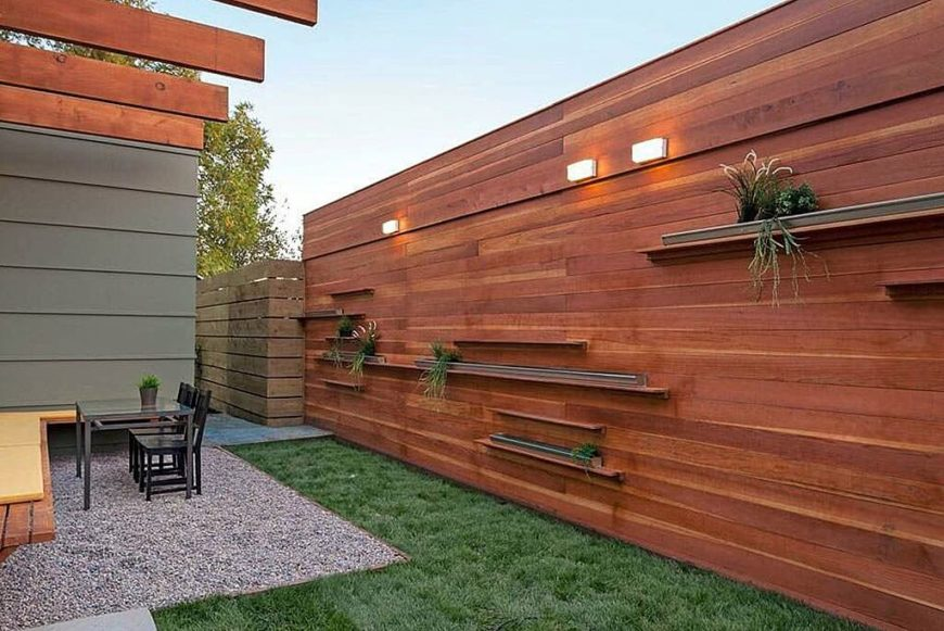 wood privacy fences. A Tall Fence That Incorporates Shelves And Lights Into The Design. Wood Privacy Fences