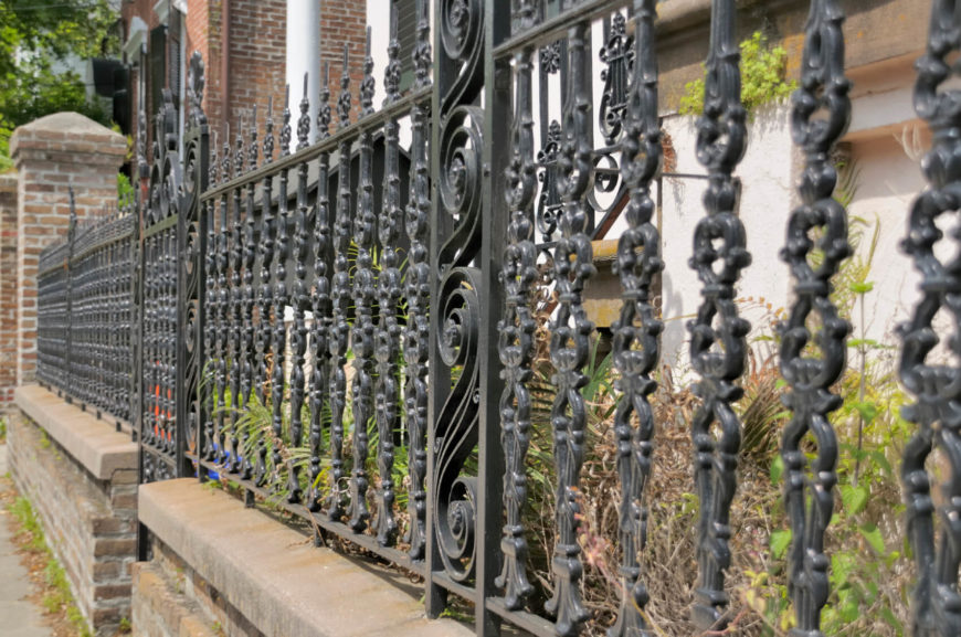 Wrought Iron Fence Design 32 elegant wrought iron fence ideas and designs an intricate design on a shorter wrought iron fence workwithnaturefo