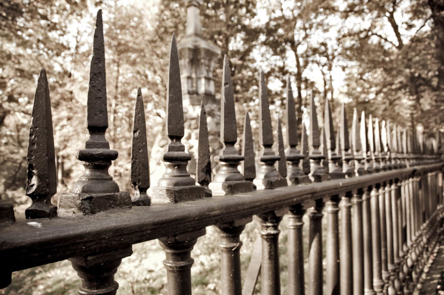 simple wrought iron fence. A Simple Fence With Extra Top Spikes. Wrought Iron