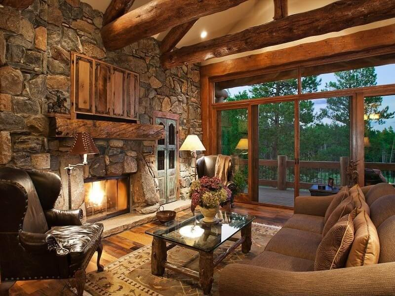 A Large Glass Sliding Door Gives A Great View Of The Outdoors From This  Stunning Rustic
