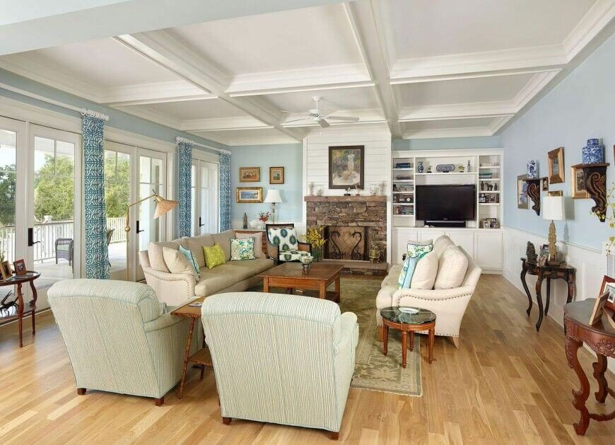 this is an upbeat and well lit classic family room that is the epitome of welcoming - Home Design Living Room Country