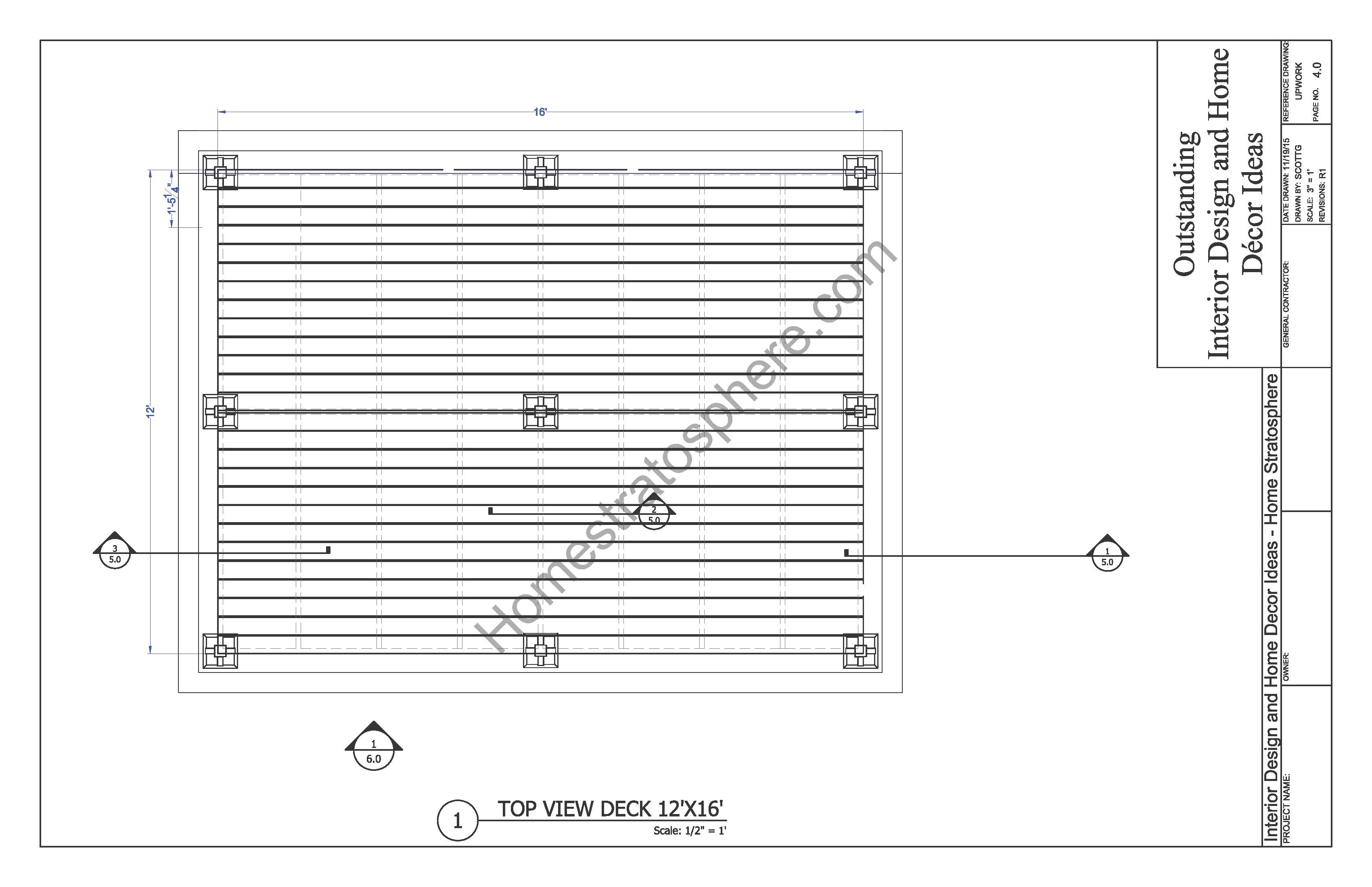 Free ground flat deck plan with pdf blueprint download for 12x16 deck plans free