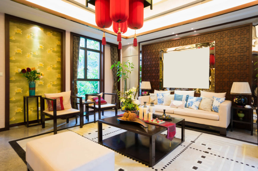 asian living room decor. The shimmering gold and more ornamental design in this family room are the  hallmarks of Chinese 14 Stunning Asian Living Room Ideas