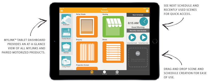 MyLink is available for both Apple and Android devices, and lets you transform your interactions with Somfy-powered motorized solutions. You'll be able to maximize the benefits like energy savings, privacy, comfort, and of course, convenience. You'll be able to operate shades, blinds, awnings, screens, and shutters with your phone or tablet from anywhere with an internet connection.