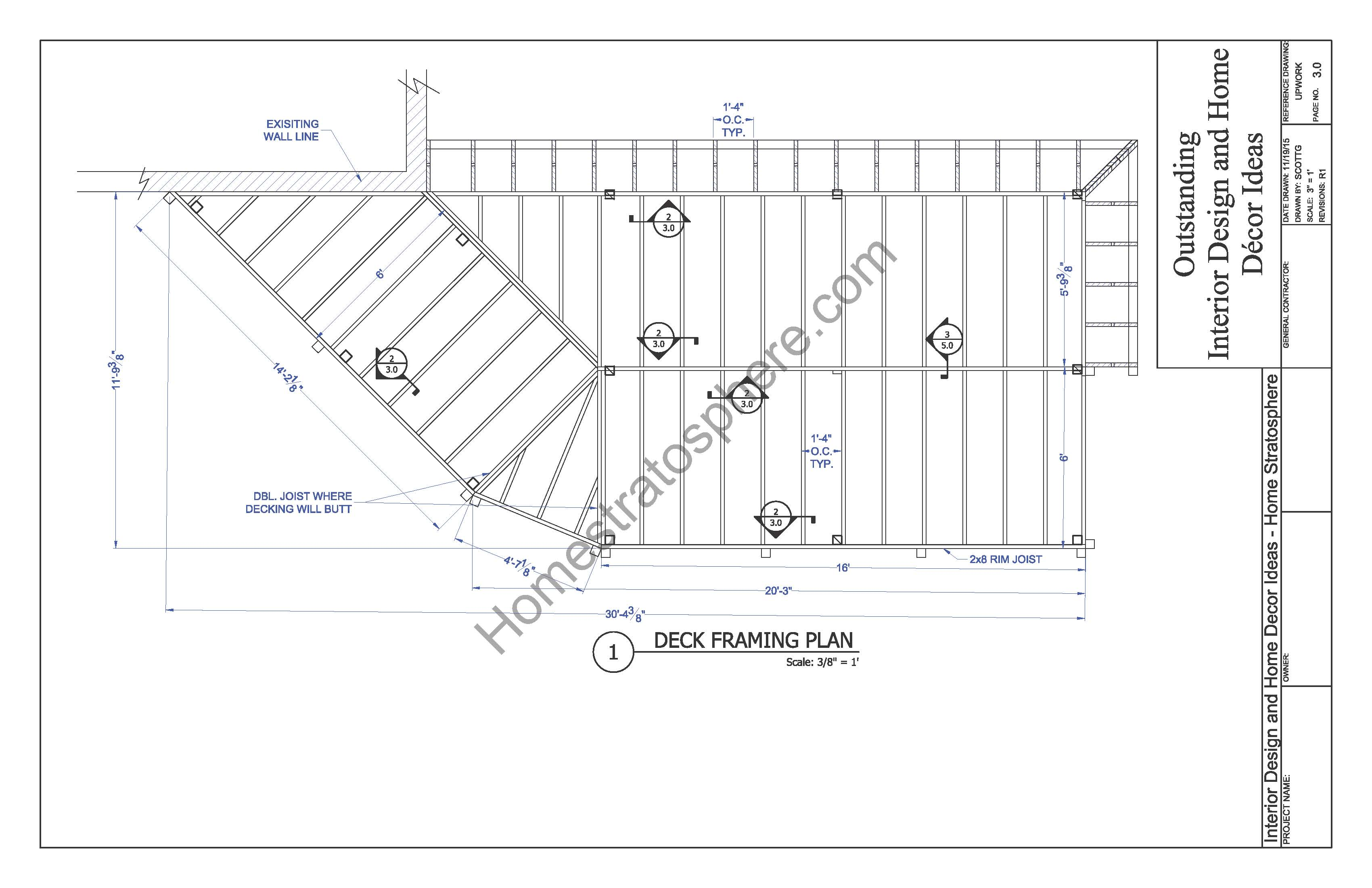 2 level deck plan blueprint free pdf download for Frame plan