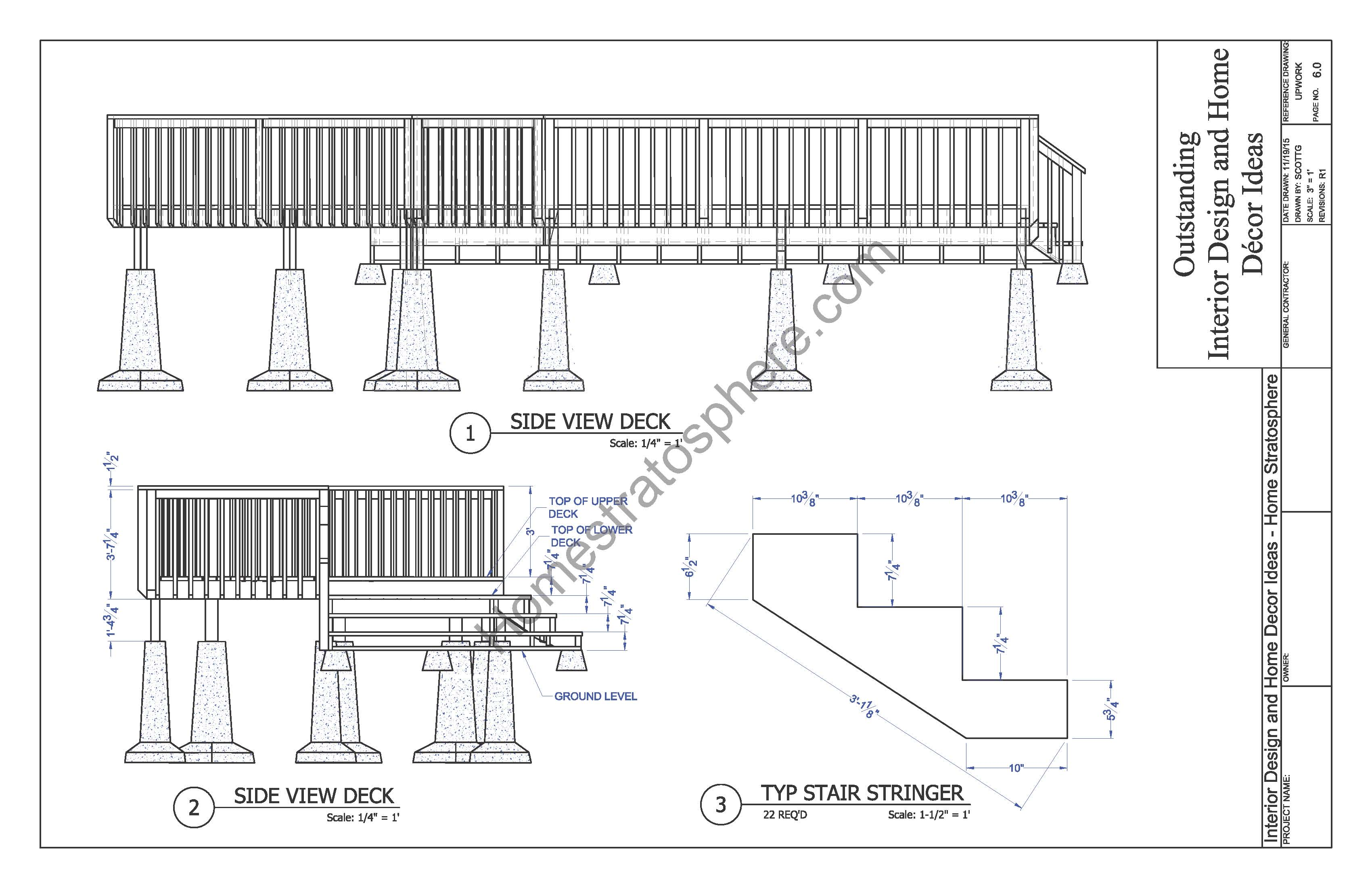 2 level deck plan blueprint free pdf download for Deck plans online