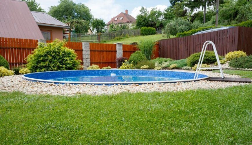 A basic round pool is good on space. It creates a nice round more natural look than more angular designs. The softer lines play better with the landscaping elements.
