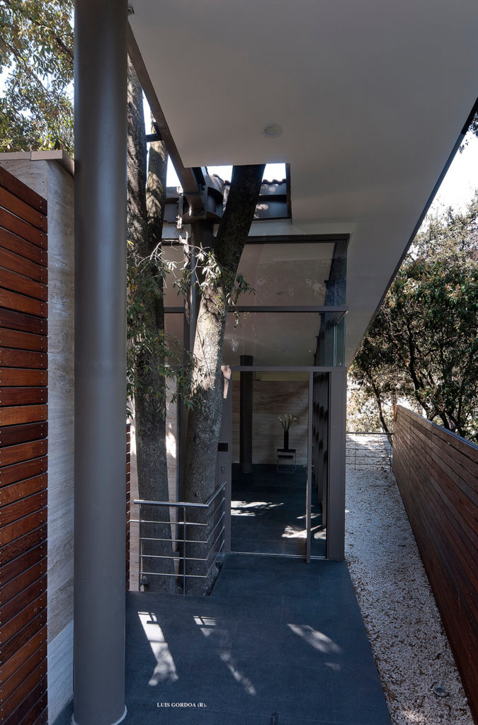 Before we explore the rest of the interior, we need to look at the dynamic exterior. Here we see one of many entrances, a subtle space mixed with trees and stones, contrasting with the rich wood paneling and steel structure.