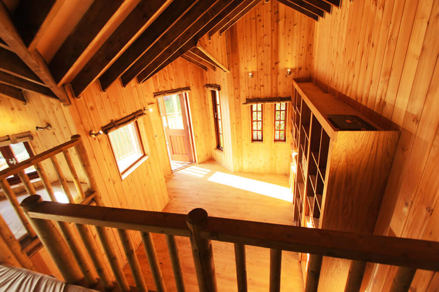 The entire interior is awash in the uniformly warm wood tone, from the floors to the ceilings. Here we can appreciate the height and expansive layout of the treehouse, as well as the abundance of windows.