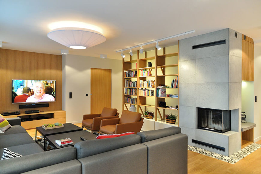 Fantastic living room with built-in bookcases.