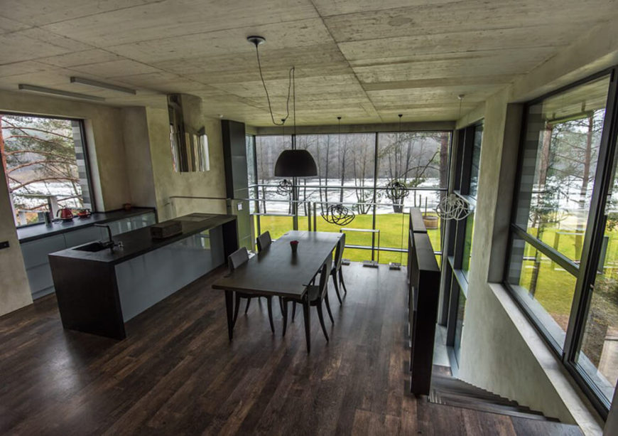 Up on the balcony is the modern kitchen and an adjacent dining area. Being on the second floor means that diners can enjoy fantastic views no matter where they are seated.
