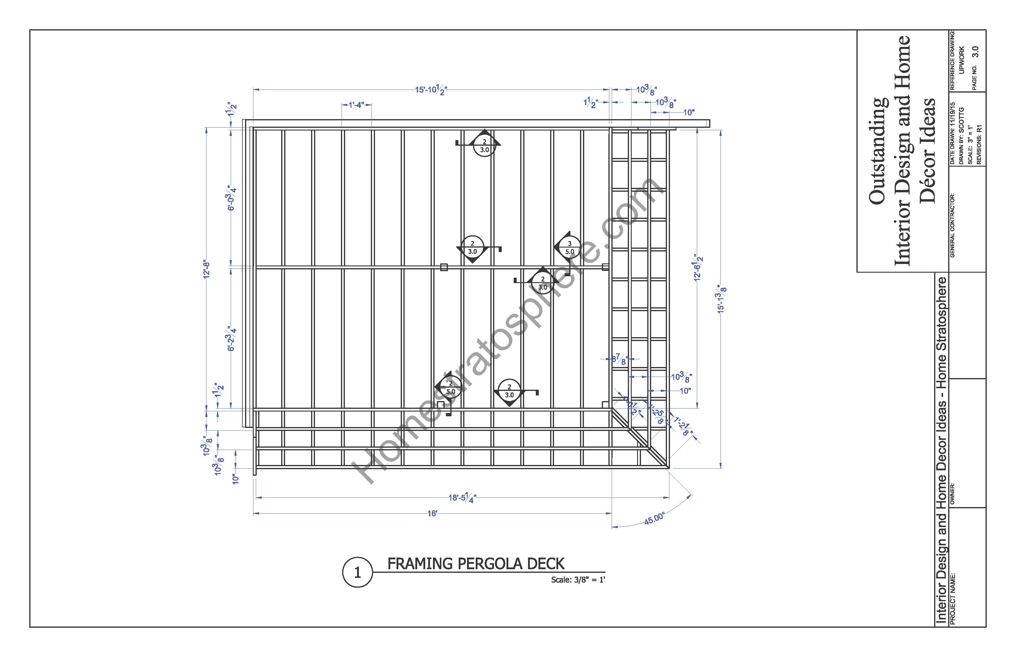 Free deck plan with pergola download full pdf blueprint for Ground level deck plans pdf
