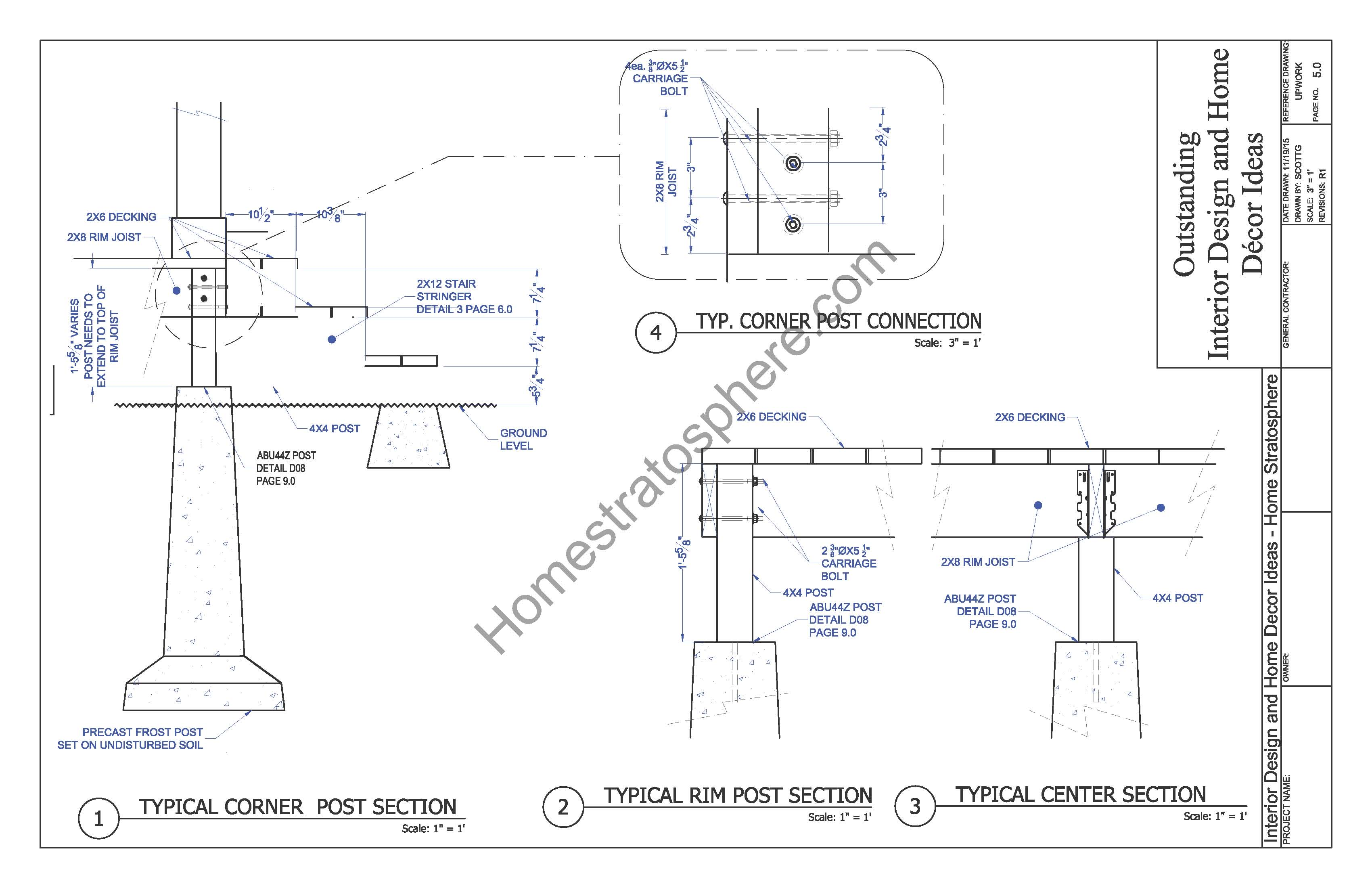 Free deck plan with pergola download full pdf blueprint home support posts blueprint malvernweather Gallery