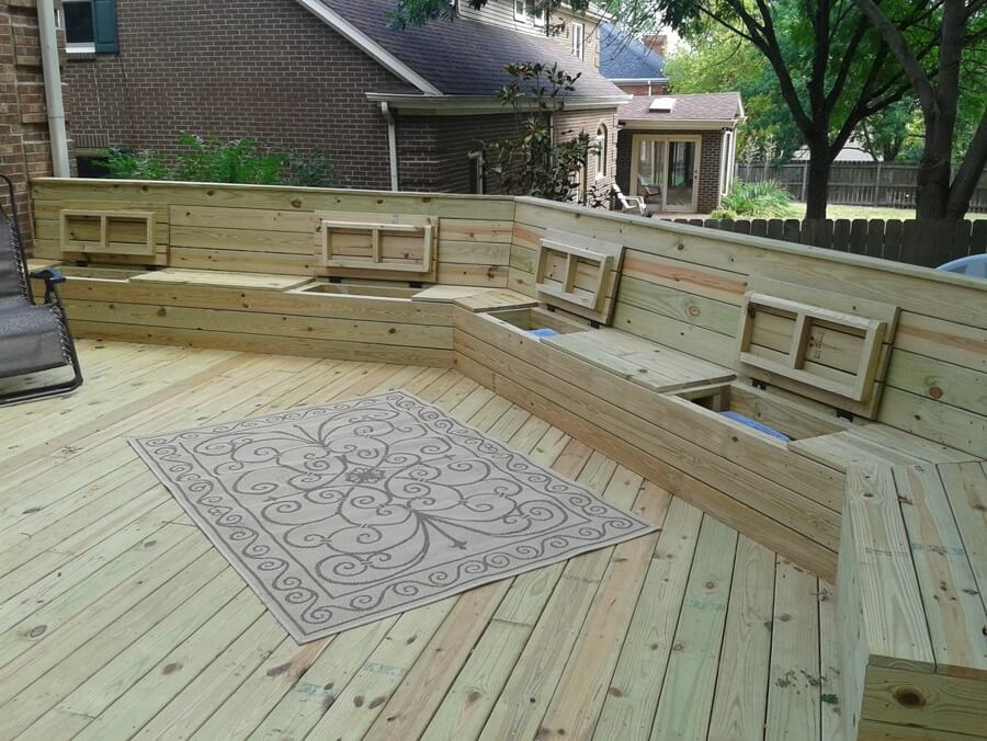 Wooden Deck With Built In Bench For Sitting And Storage