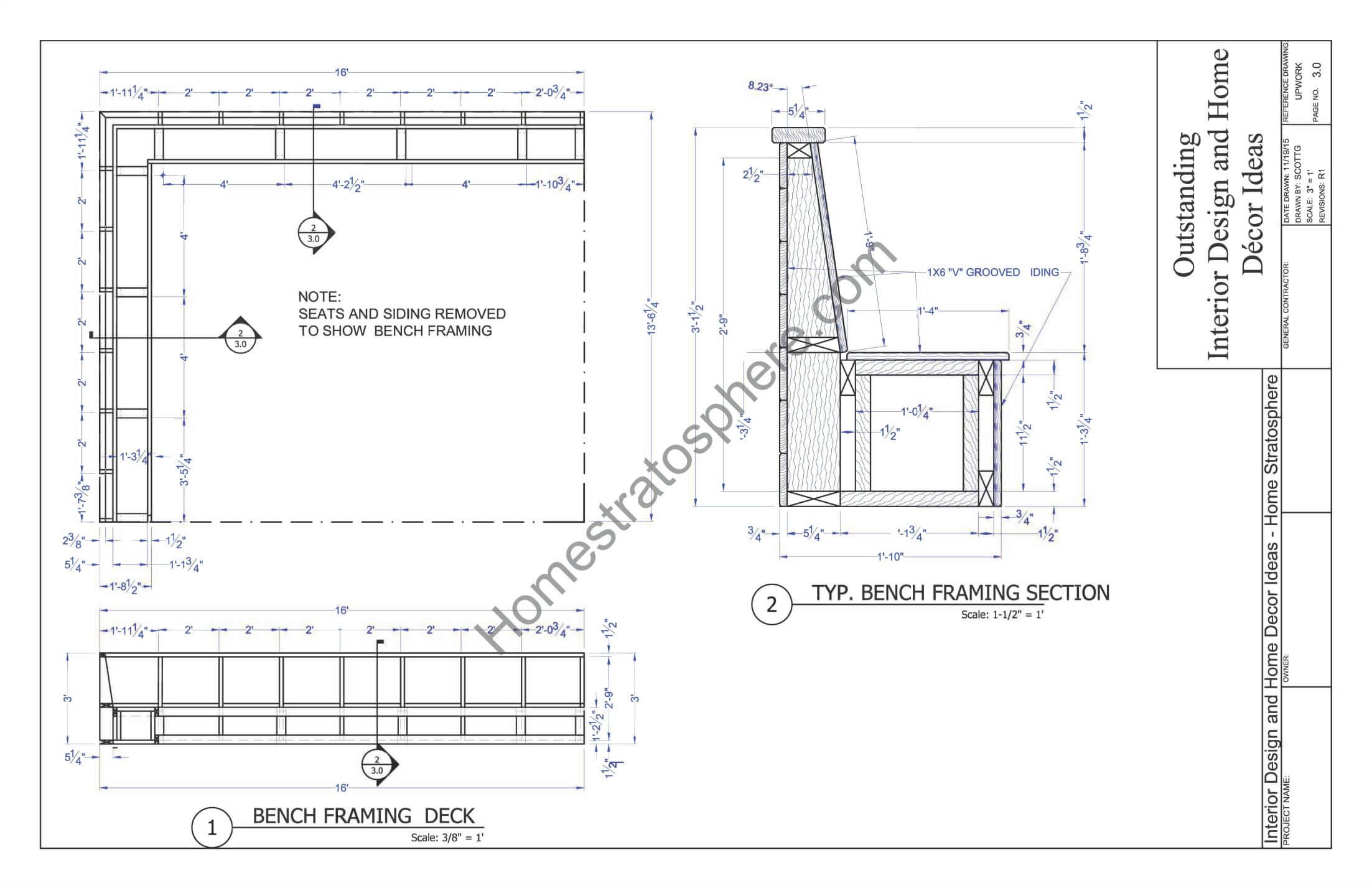 Deck plan with built in benches for seating and storage for House framing plans