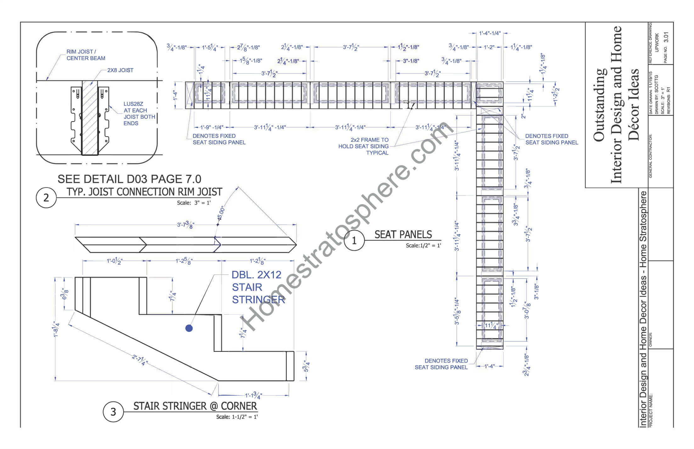 Deck plan with built in benches for seating and storage for Deck plans online