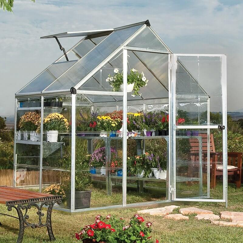 Here is a simple single door greenhouse. This greenhouse is small and great for personal use in a backyard or garden for the average gardener that just wants to extend their growing season.